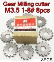 M3.5 Modulus PA20 graden NO.1-NO.8 8 stks/set HSS Versnelling frees Gear snijgereedschap Gratis verzending