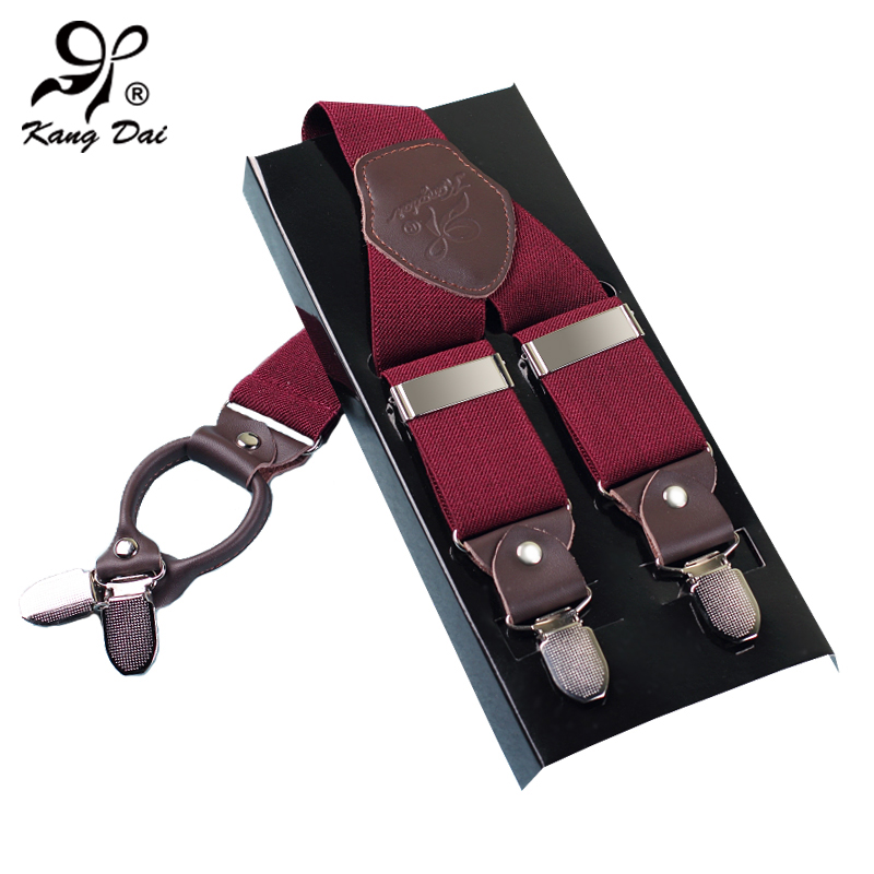 Kangdai 2017 Mens Suspenders Braces Casual Fashion Brace High Quality Leather Suspenders Adjustable 4Clip Suspenders StrapMCY401