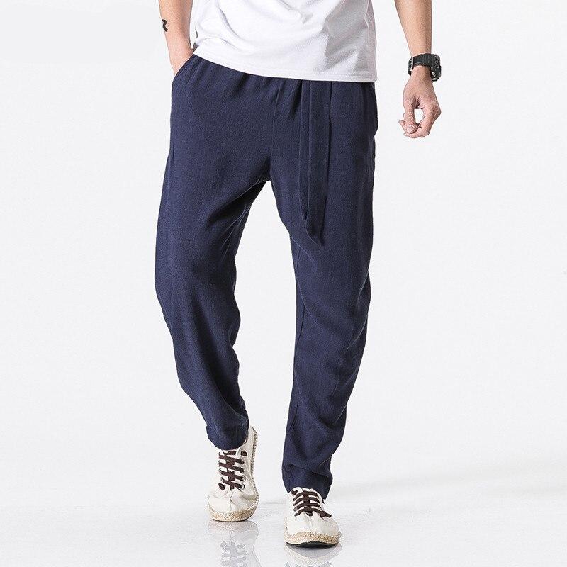 Fashion Casual Loose  Size Plus 5XL Cotton Linen Harem Pants Men Belt Jogger Pants Male Trousers Chinese Traditional Cloths