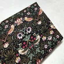 Винтажная хлопковая ткань с принтом птиц и цветов 50x110 см для шитья своими руками, вечерние сумки для украшения дома