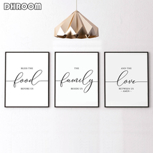 Nordic Minimalist Canvas Poster Printing Bless The Food Before Us Kitchen Wall Art Painting Housewarming Gift Dining Room Decor
