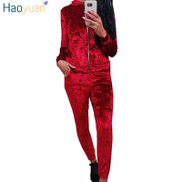 HAOYUAN Velour Tracksuit Women Autumn Track Suit Hooded Long Sleeve Hoodies Sweatshirt And Pants Outfits Velvet