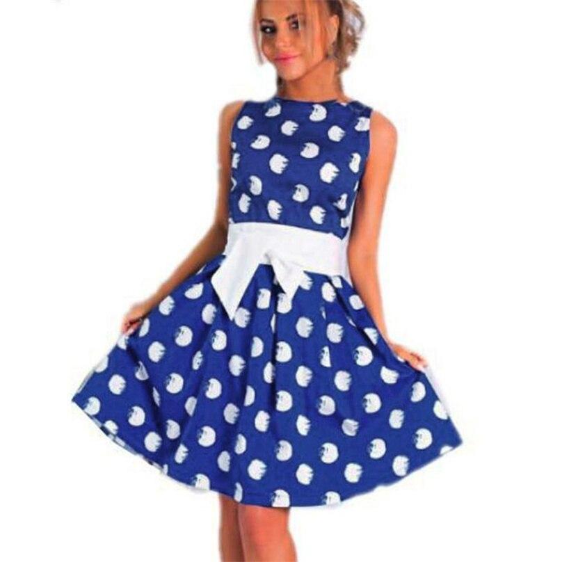 Présage couleur Dot imprimer robe d'été vintage Bleu Polyester mini Plissée robe O cou sans manches casual Robe feminina # TW