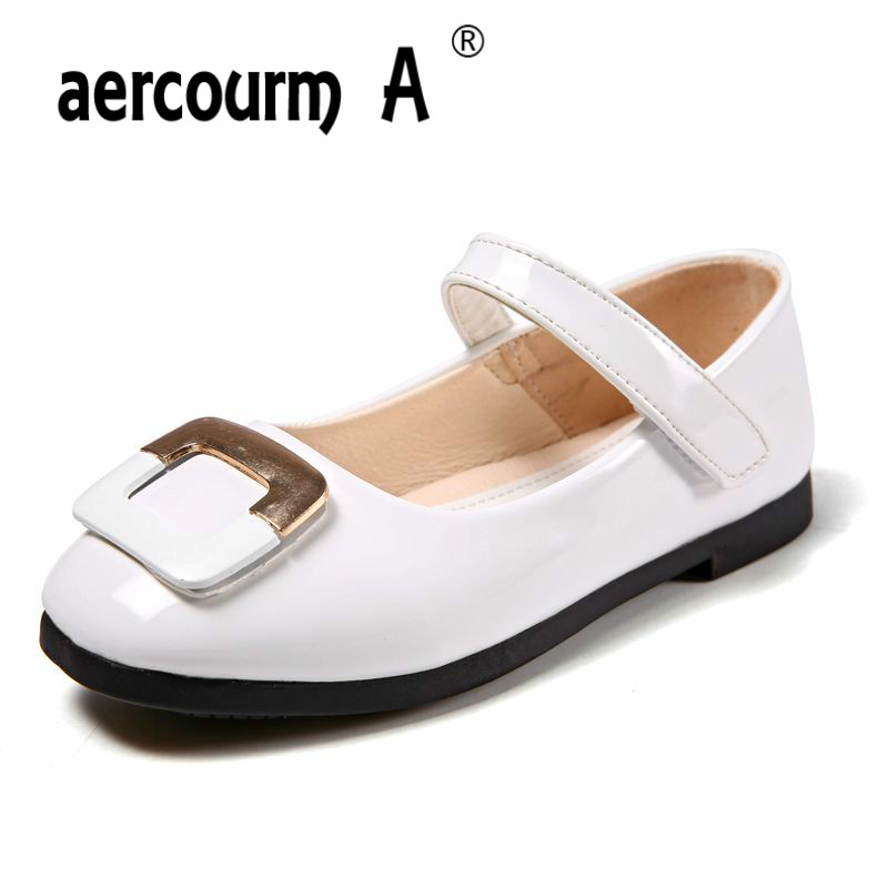 Aercourm A Girls Shoes PU Leather Spring Autumn 2018 New Children Low-heeled Princess Shoes Students Dance Metal Button Shoes