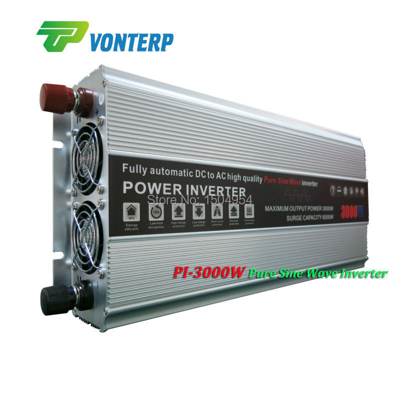 цена на Dc 24v to ac 220v Pure Sine Wave DC-AC Inverter 3000W, 3000W inverter dc to ac, Pure sine wave inverter 3000W peak 6000W
