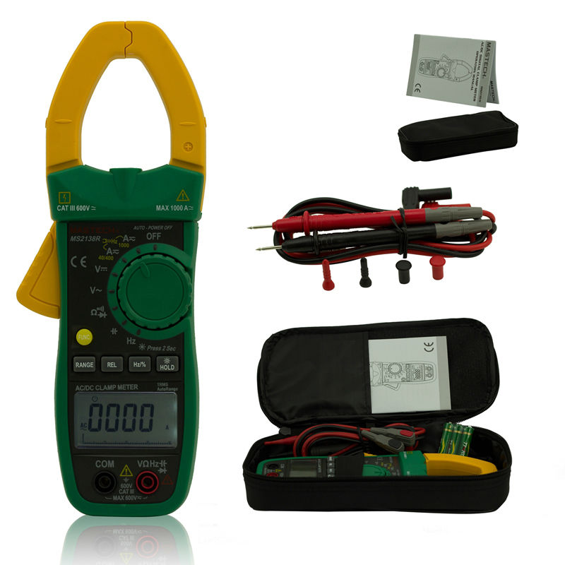 MASTECH MS2138R Digital Clamp Meter 4000 Counts AC DC Voltage Current Capacitance Resistance Tester - 3