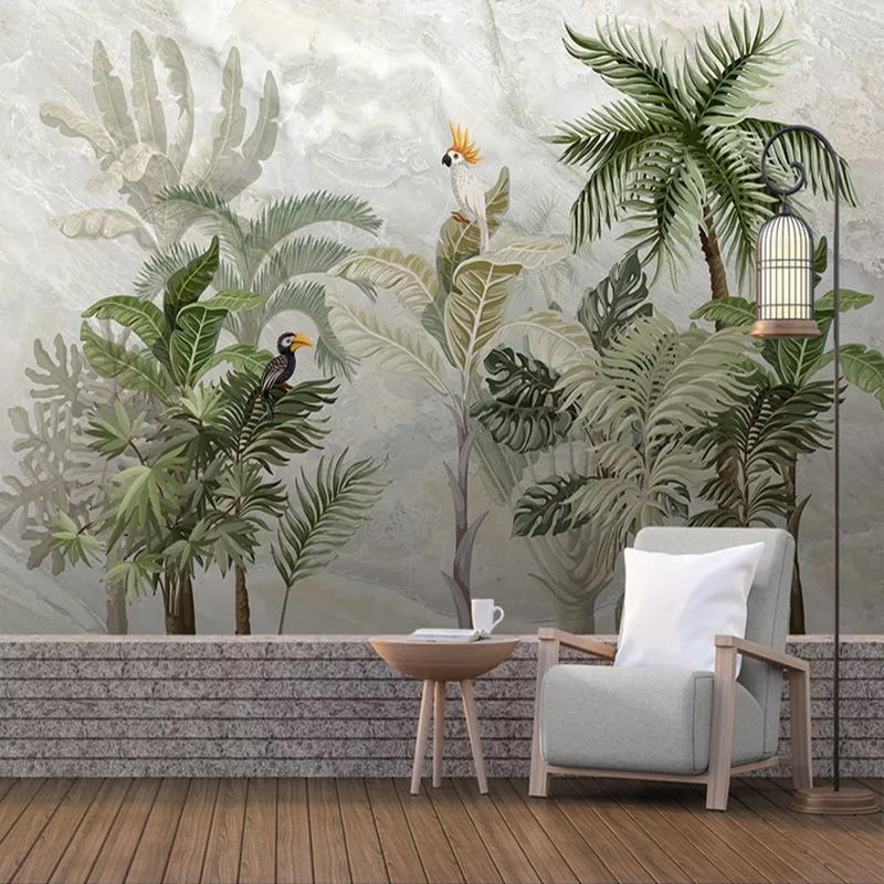 Custom Photo Wallpaper For Walls 3 D European Style Marble Pattern Hand Painted Plant Leaf Living Room Background Wall Painting