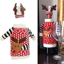 Home Table Decor Christmas Party Wine Bottle Cover Cap Holiday Xmas Santa Deer