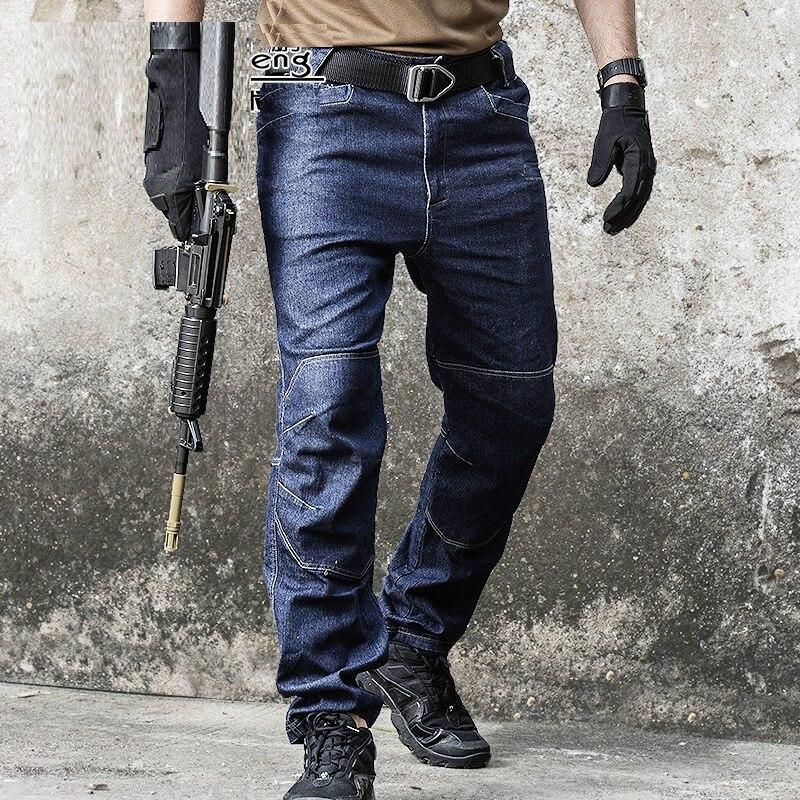 8f1efcec16031 2018 nuevos pantalones vaqueros tácticos de mezclilla para hombre  Pantalones vaqueros elásticos cómodos de longitud completa Multi bolsillos  leggings de ...