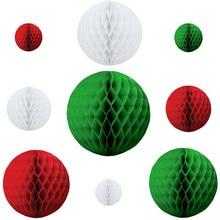 30pcs 8cm+15cm+20cm Christmas Honeycomb Paper Balls Decoration Red/White/Green Hanging Decor Supplies