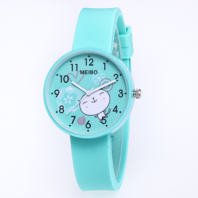 Kid Watch Top Brand MEIBO 2018 New Cartoon Cat Silicone Women Watches Fashion Cute Children Watch Student Baby Time Clock Gift