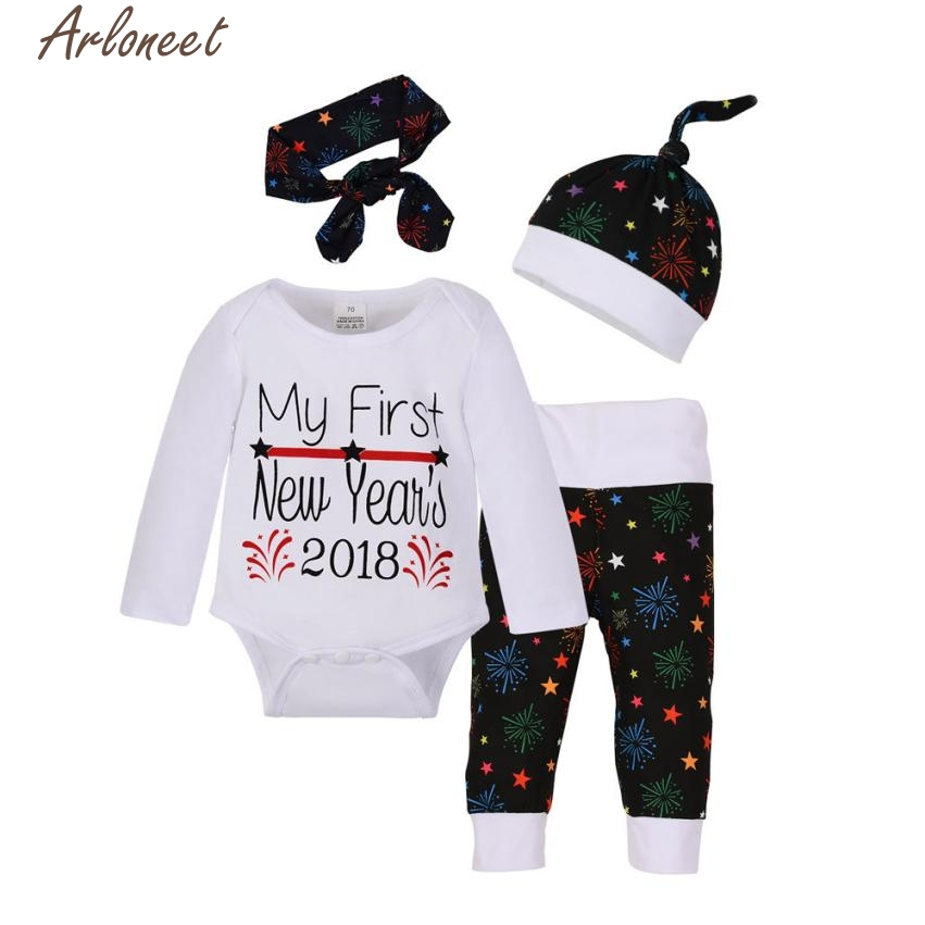 New Year Fashion Baby Boy Girl Clothes Newborn Baby Girls Boys Christmas Outfits Clothes Romper+Pants+Hat Headband Set