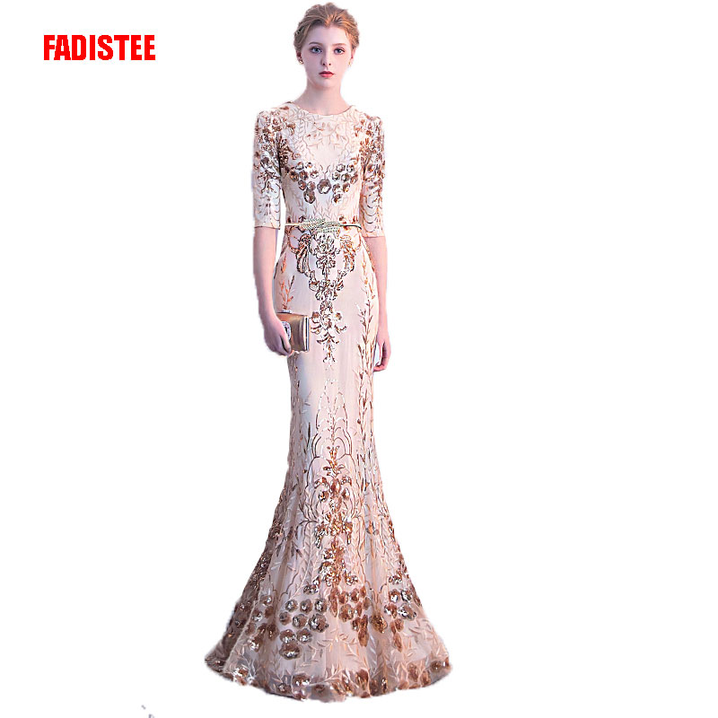 FADISTEE New arrival sexy party evening   dresses   Vestido de Festa A-line   prom     dress   Robe De Soiree O-neck half sleeves sequin