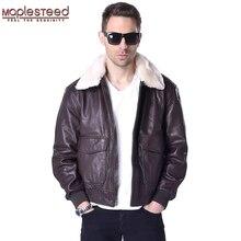 MAPLESTEED Flight Jacket Men Genuine Leather Mens Pilot Aviator Coat 100% Real Sheepskin Fur Collar Brown Black Winter Parka 176
