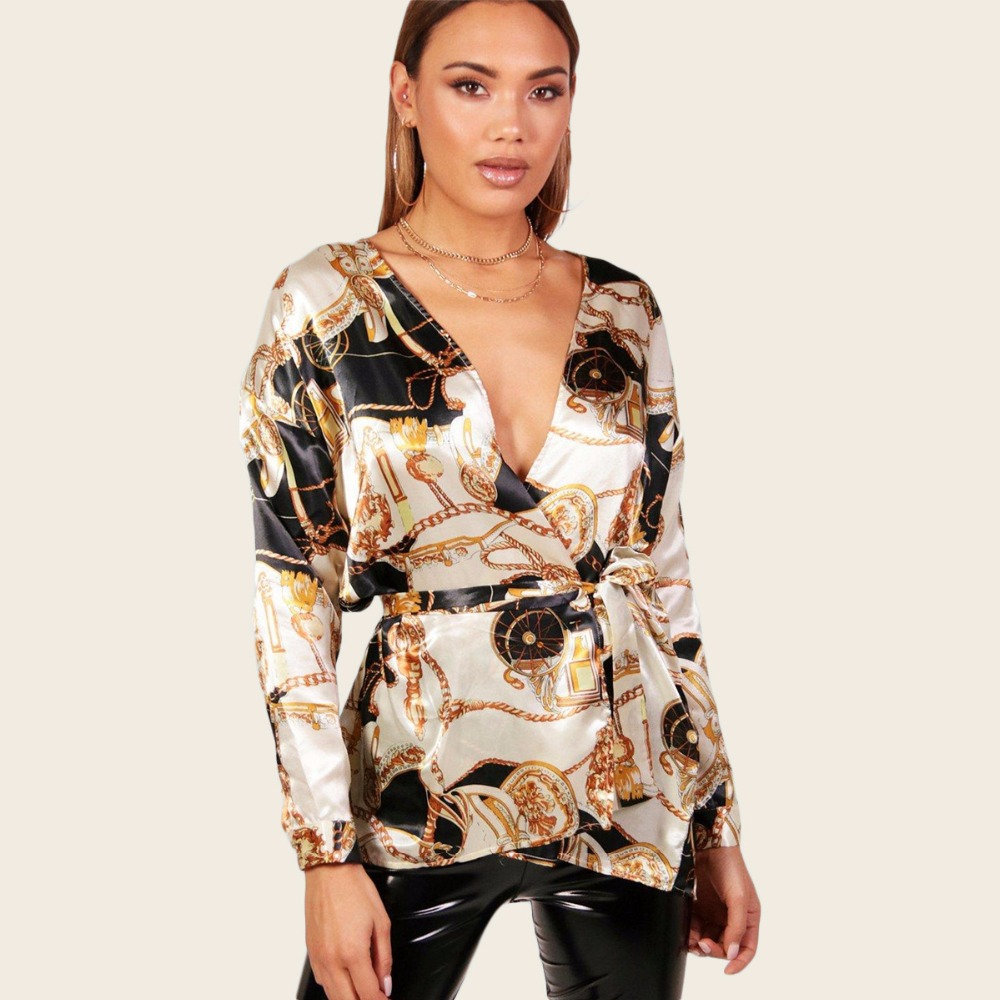 Summer V-neck Cardigan Casual Print Color Long-sleeved Shirt Women 2019 Hot Streetwear Women Spring Long Blouse Sexy Club Ladies