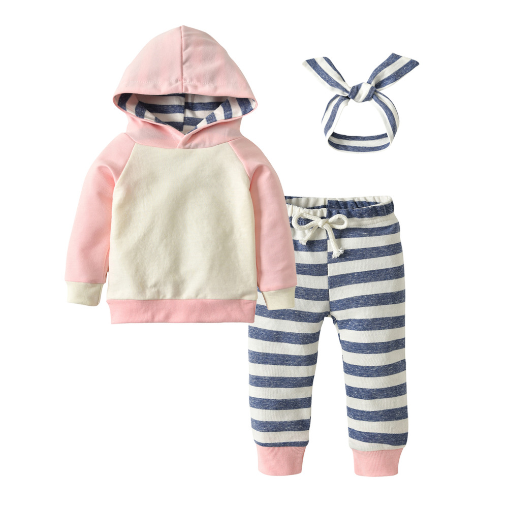 Autumn Baby Girls Clothes Infant Long Sleeve Pink Patchwork Hoodie Tops  Sweatsuit Pants Headband Toddler Clothing Outfits Set eb5cdfdacbb7