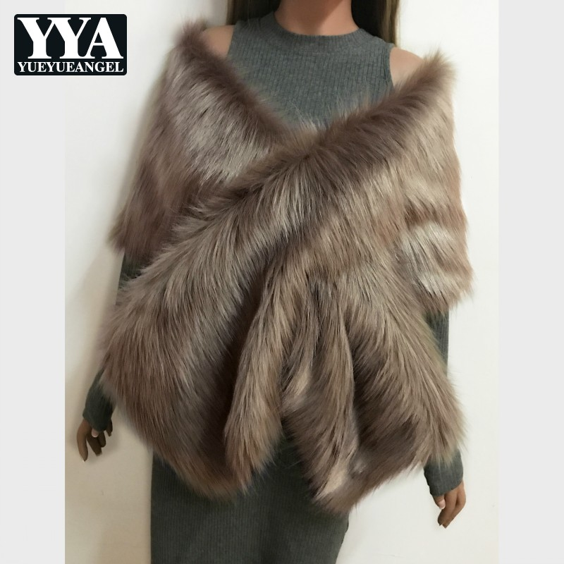 Womens Faux Fur Shawl Autumn Winter Bride Wedding Dress Cape Multi Colors High Quality Party Poncho Imitation Fur Warm Outwear