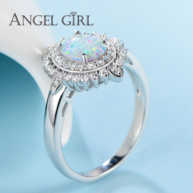 Angel Girl 925 Sterling Silver 0.78ct Opal Rings Female Oval Classic Anniversary Women Ring Fine Jewelry New On Sale S-R0059-WW