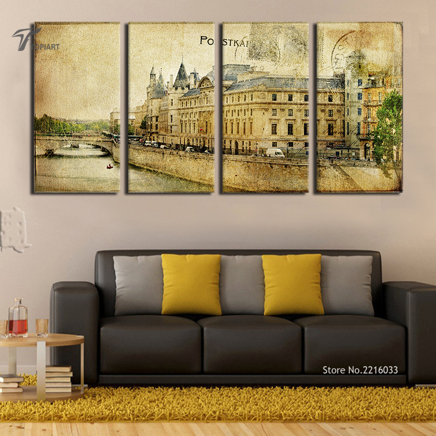 Popular building oil painting buy cheap building oil for Lots of pictures on wall
