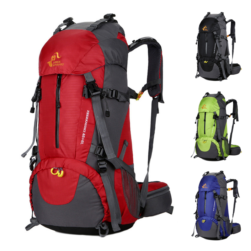Free Knight Camping Hiking Backpack 50L Outdoor Sport Bag Climbing Travel Rucksack With Rain Cover For Men Women Males Teengers