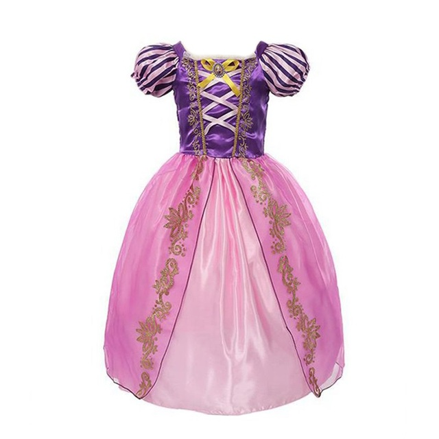 VOGUEON Meninas Rapunzel Cosplay Traje Da Princesa Cinderela Branca de Neve Belle Menina Bela Adormecida Halloween Vestido de Festa de Aniversário