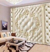 Fashion Customized Home Bedroom Decoration 3D Curtain Roman Column Lattice diamond Curtains For Blackout Curtains Living Room