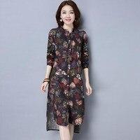 Elegant Women Stand Collar Long Sleeve Boho Floral Print Split Autumn Casual Beach Blouse Irregular Cardigan