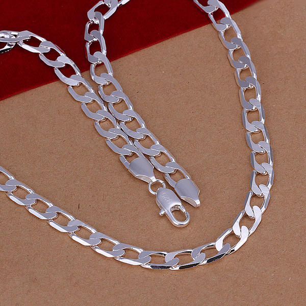 ea096169c4d4dd Aliexpress.com : Buy sterling silver jewelry 8mm flat side men women 925 silver  necklace choker floating locket rope chain colliers perles colar N034 from  ...