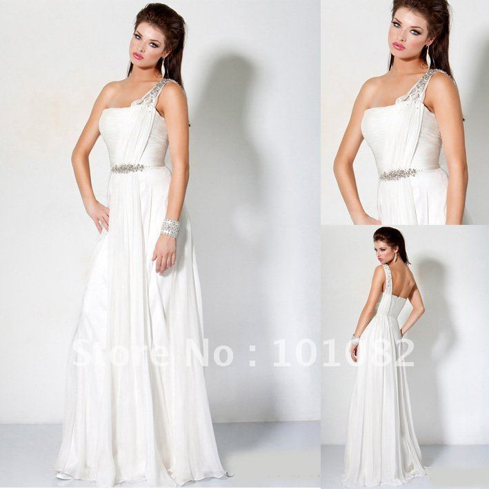Maxi Ancient Greek Style Dress With Deep Neckline And: 2012 Style Greek Goddess One Shoulder Strap Pageant