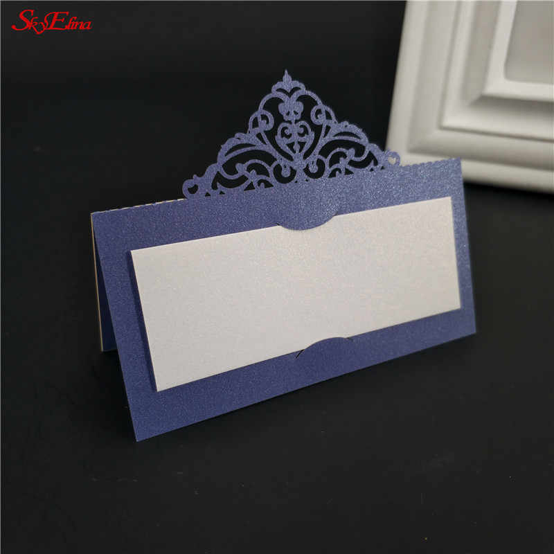 50pcs Laser Cut Table Card Flower Decoupage Wedding Place Name Cards for Party Decoration Wedding Event 5ZSH873