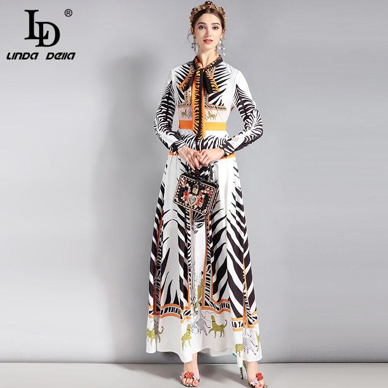 LD LINDA DELLA New 2018 Fashion Runway Maxi Dress Women's Long sleeve Bow collar Pattern Printed Vintage Long Dress High Quality high collar long sleeve printed dress