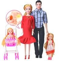 Familia 5 personas Muñecas Trajes 1 mamá/1 papá/2 Little Kelly Girl/1 bebé Hijo/ 1 bebé real muñeca embarazada regalos envío libre