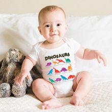 Cute children's color dinosaur letter robes jumpsuit romper newborn girl cotton O-neck short-sleeved leotard 2019 new style(China)