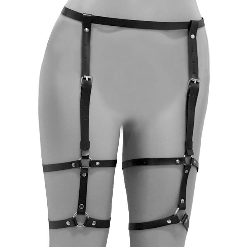 Women's Clothing Intimates & Sleep Women Body Harness Belts Garters Pu Leather Punk Strap Band From Waist To Leg Fashionable Patterns
