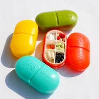 Hot Portable 6 Slots seal folding Pill Cases Jewelry candy Storage Box Vitamin Medicine Pill Box Case Container Color Random