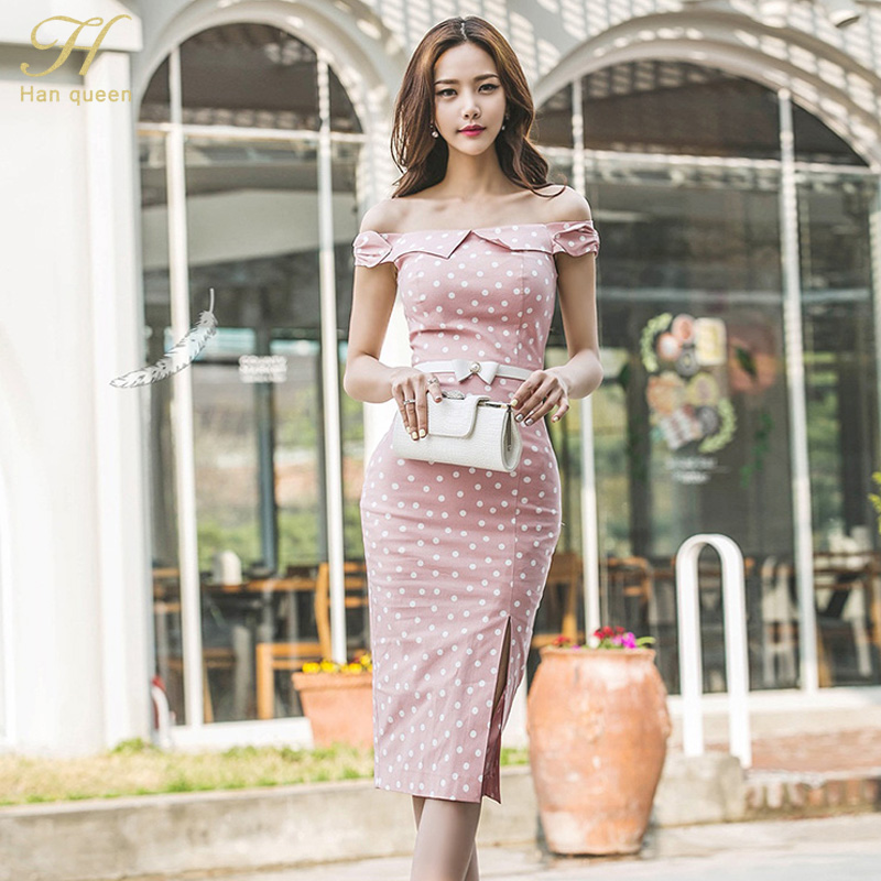 H Han Queen Women Vintage Polka Dot Wear To Work Office Casual Party Flare Sheath Bodycon Pencil Dress Belt Bow Fitted Vestidos by H Han Queen
