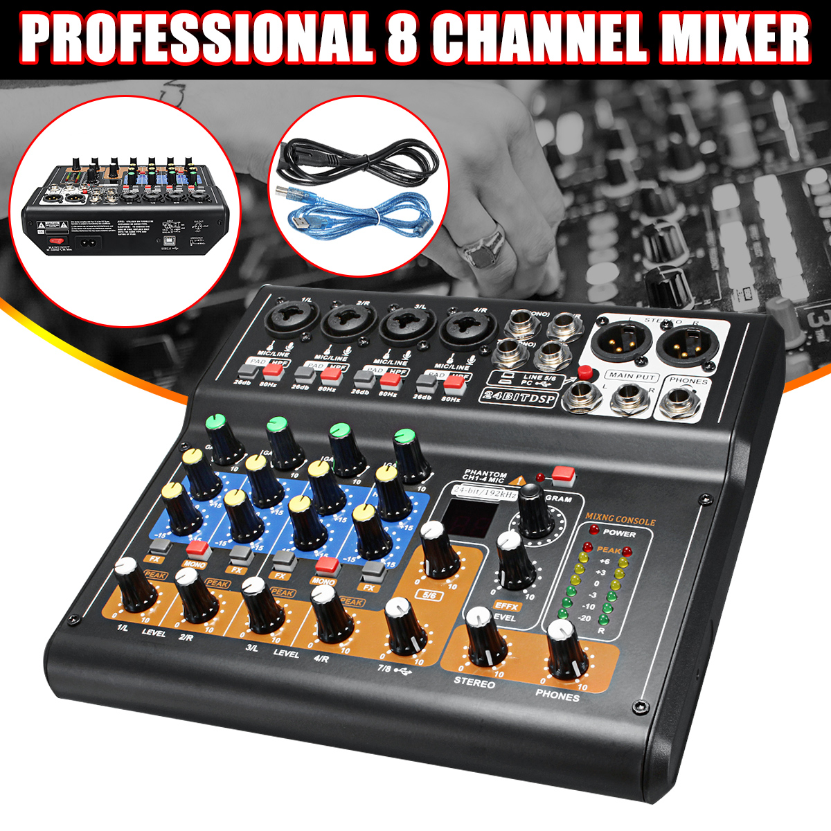 Kinco Mini Portable Mixer 8 Channel Professional Live Studio Audio KTV Karaoke Mixer USB Mixing Console 48V for Family KTV
