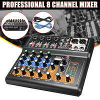 Kinco Mini Portable Mixer 8 Channel Professional Live Studio Audio KTV Karaoke Mixer USB Mixing Console 48V for Family KTV