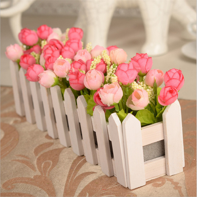 30cm wedding decorative simulation artificial flowers small potted 30cm wedding decorative simulation artificial flowers small potted plant fake rose set with white picket fence mightylinksfo