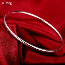Women's Fashion Jewelry 100% 925 Sterling Silver Bracelet Fashion Jewelry S925 Smooth Bracelet цена