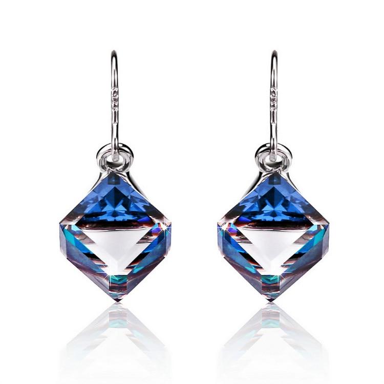 HTB1aH bbBGE3KVjSZFhq6AkaFXaZ Warme Farben Crystal from Swarovski 925 Silver Earrings Drop Earring Square Cube Dangle Earring Fine Jewelry Gift Lady Brincos