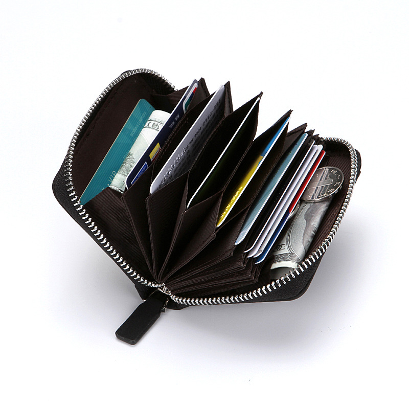 New Designer Leather Credit Card Holder Fashion Rfid Wallet Women Men Short Zipper Card Money Bag Plaid Coin Pouch Zipper Wallet