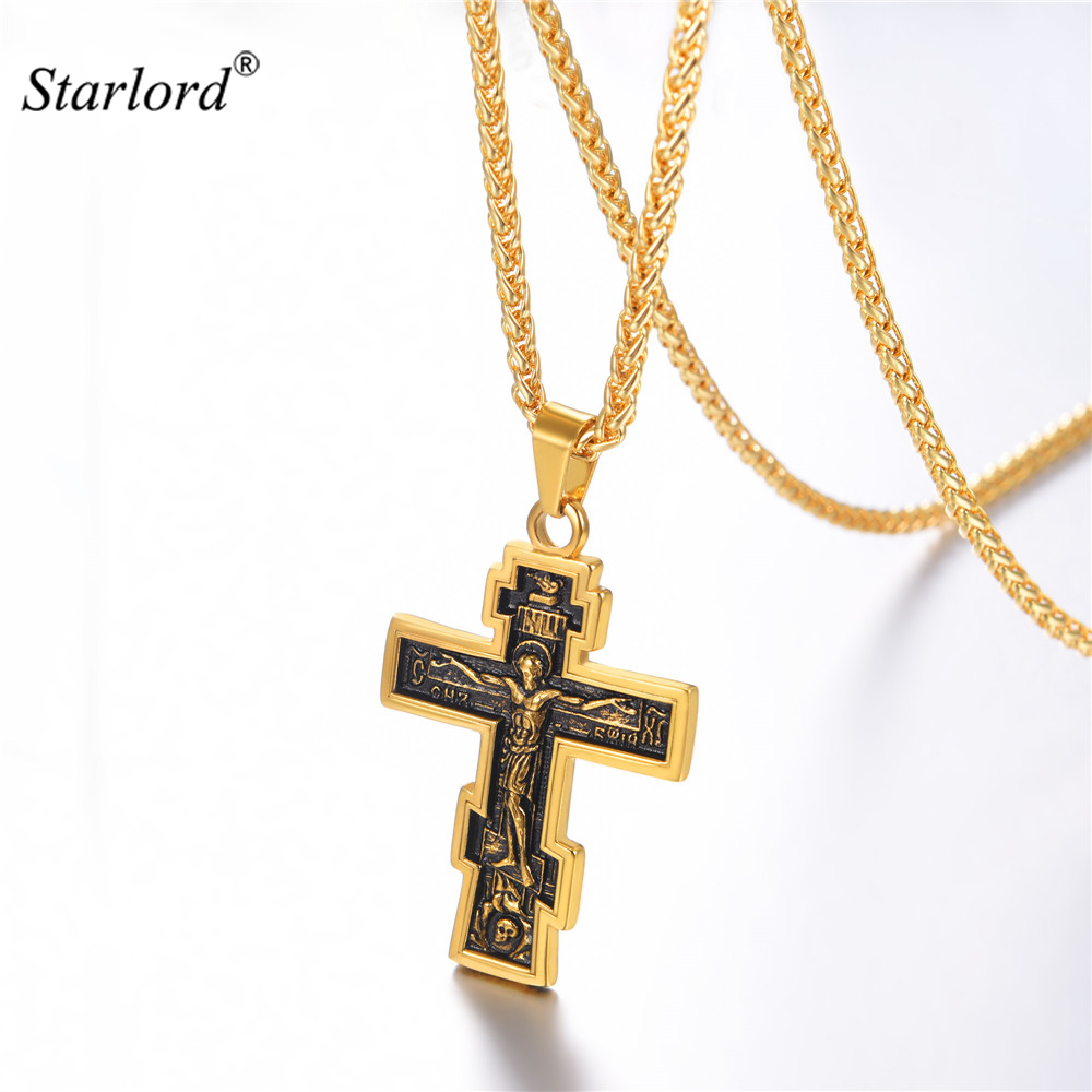 Orthodox Cross Necklace Stainless Steel/Gold/ Black Cross Charm Jesus of Nazareth King Calvary Jewelry For Russian GP3239