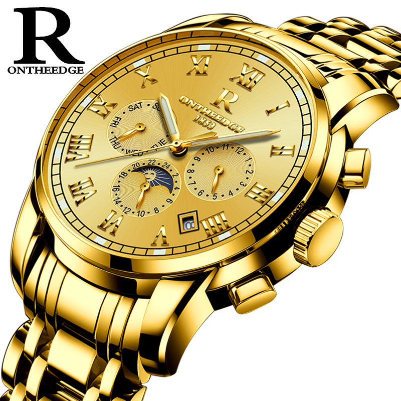 Ontheedge Man Automatic Watch PVD Gold Color Moonphase Chronograph Luminous Hand&Dial Solid Stainless Steel Band Relojes HombreOntheedge Man Automatic Watch PVD Gold Color Moonphase Chronograph Luminous Hand&Dial Solid Stainless Steel Band Relojes Hombre