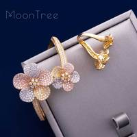 MoonTree Flower Floral Fashion Luxury Super AAA Cubic Zirconia Women Engagement Bangle Ring Set Dress Jewelry Sets