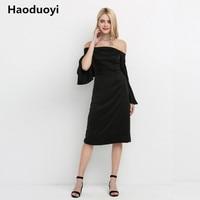 Haoduoyi Black Sexy Backless Sheath Dress Women Fashion Off Shoulder Ruffle Sleeve Vestidos Elegant Shaping Female