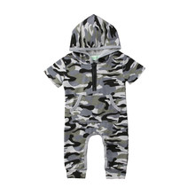 2018 Newborn Baby Girl Kid Boy Camo Short Sleeves Casual Cotton Hooded Romper Jumpsuit Camo Camouflage Summer Clothes 45(China)