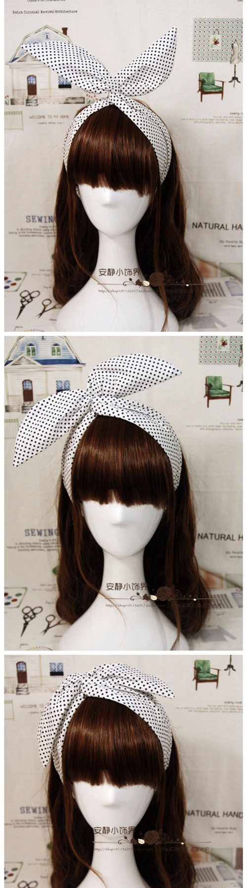 1950s women vintage rockabilly pinup polka dot print headband hairband hair scarf wrap bands accessories bandana bandeau bow