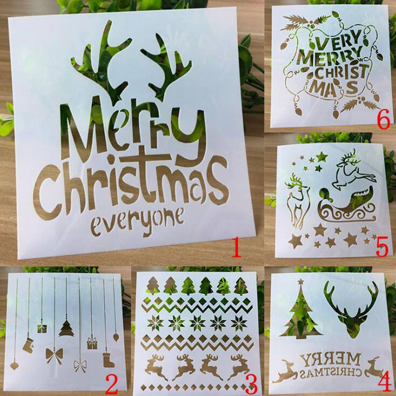 6pc Christmas Stencils Bullet Journal Templates Spray Pattern Stencils For Diy Scrapbooking Stencil Painting Decoration Reusable