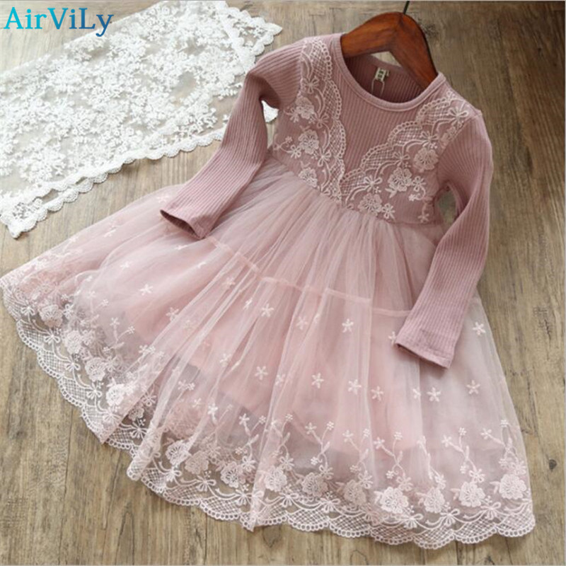Girls Dress 2018 New Girls Clothes Long Sleeve Lace Patchwork Children Clothing Baby Girl Dresses Kids Sweater Dresses 2-8Yrs fashion kids baby girl dress clothes grey sweater top with dresses costume cotton children clothing girls set 2 pcs 2 7 years